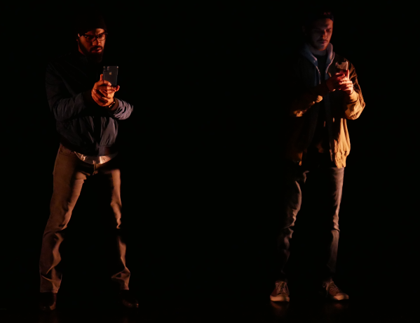 Domonique Champion and Noah Alderfer as Gregory and John in FROM WHITE PLAINS